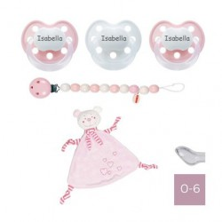 Gavepakke med lyserød krammeklud, BABY-NOVA DELUX 0-6, Anatomisk - Silikone