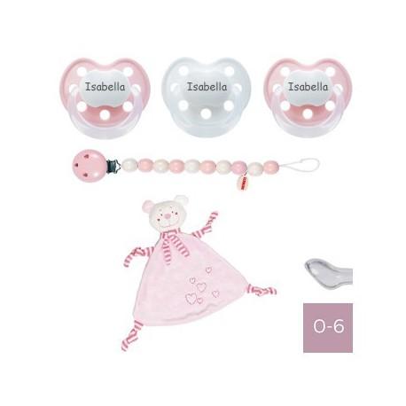 Image of   Gavepakke Med Lyserød Krammeklud, Baby-nova Delux 0-6, Anatomisk - Silikone