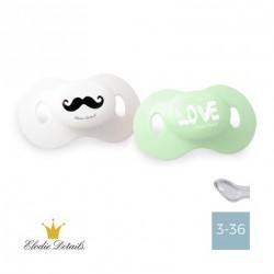 Elodie Details sut - 3-36,Moustache/LOVE - 2 pak,Anatomisk-Silikone