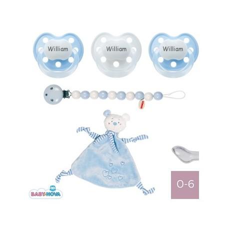 Image of   Gaveboks med blå krammeklud, baby-nova delux 0-6, anatomisk - silikone
