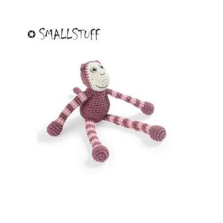 Smallstuff - hæklet abe, har en lille bjælde i maven