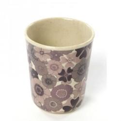 Bambus melamin, kop uden håndtag, mørk rosa blomster