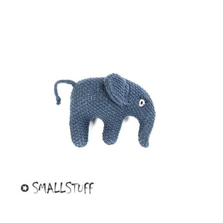 SMALLSTUFF, Strikket elefant, Rangle, Blå