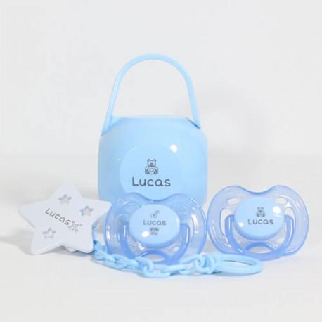 Image of   Gavepakke i blå til dreng, philips avent 0-6, symmetrisk - silikone