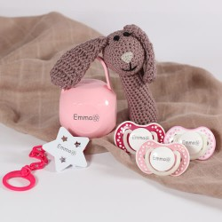 Gavepakke til pige,  Med sød kanin rangle, 3-36 måneder