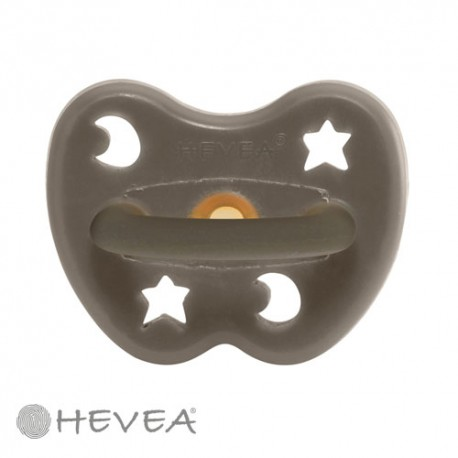 Image of Hevea naturgummisut, star & moon - shiitake grey, str. 0-3 mdr., anatomisk - naturgummi