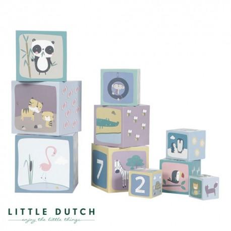 Image of Little dutch, stableklodser, tal fra 1-10 - støvet blå