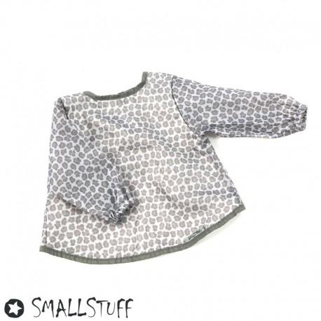 Image of Smallstuff, forklæde med ærmer, leopard - grå