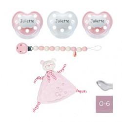 Coffret cadeau avec doudou rose, BABY-NOVA 0-6, Physiologique - Silicone