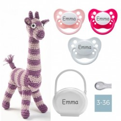 Coffret cadeau, Girafe en crochet, Fille