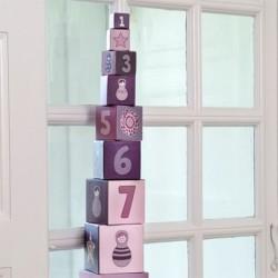 SMALLSTUFF - Cubes à empiler, Lavande, Poupées et fleurs