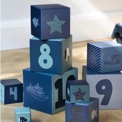 SMALLSTUFF - Cubes à empiler, Bleu, Poupées et fleurs