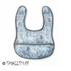 SMALLSTUFF - Bavoir, Petit avec poche, Bleu / Animal