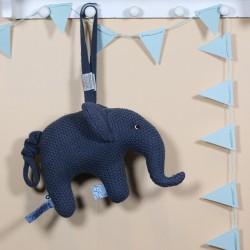 SMALLSTUFF, Mobile musical, Éléphant tricoté, Bleu
