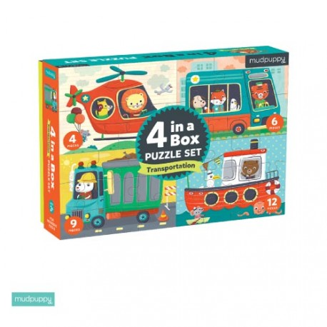 4 puzzles différents, motifs de transport, Mudpuppy
