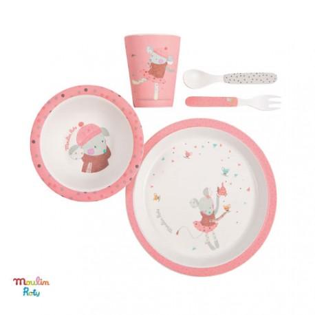 MOULIN ROTY, Ensemble de repas pour bébé, rose