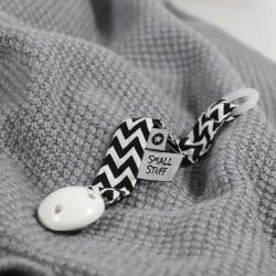 SMALLSTUFF - Attache-tétine, Noir/Blanc zigzag