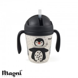 MAGNI, Gobelet avec poignées & paille, Pingouin - Bambou