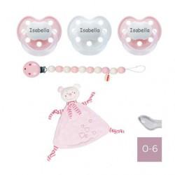 Geschenkdoos met fopspeendoekje, BABY-NOVA 0-6, Anatomisch - Silicone
