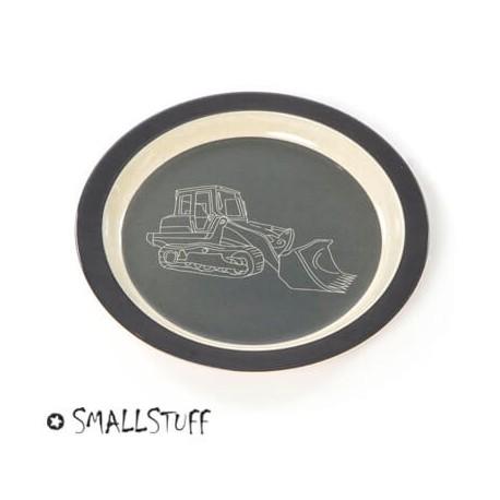 Bambus melamin, flad tallerken, mørkegrå køretøjer