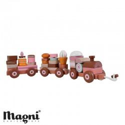 MAGNI, Tåg med staplade tårtor, Rosa nyanser