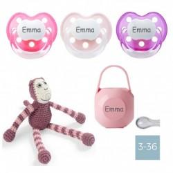 Gift box with crochet monkey