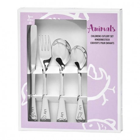 Personalized cutlery for girl, Animals