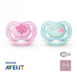 Philips Avent, Napp 0-6 mån, Ultra Air Pink-Green, Symmetrisk - Silikon