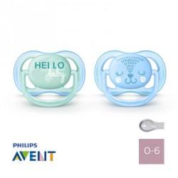 Philips Avent, Napp 0-6 mån, Ultra Air Hello Baby, Symmetrisk - Silikon