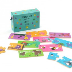 SMALLSTUFF - Pussel Mamma/barn, Blå lådan
