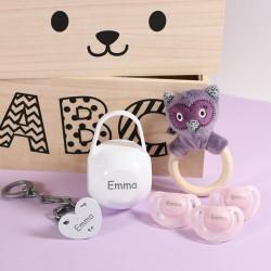 Presentlåda för tjejer, Med en söt uggleskallra, 0-6 månader