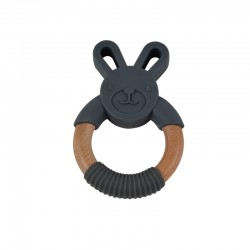 MAGNI, Wooden teething ring, Silicone and wood - Grey