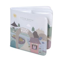 LITTLE DUTCH, Bath book, Figures from zoo - Dusty blue and mint