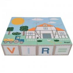 Building Blocks ''Farm'' with Scandinavian Letters