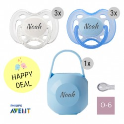 6 PHILIPS AVENT dummies, 0-6 m, symmetric - silicone with dummy box