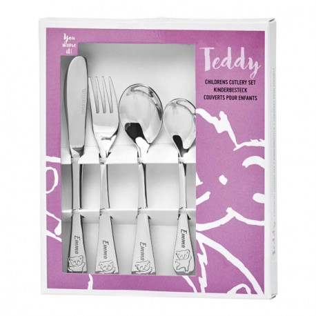 Personalized cutlery for girl, Teddy bear