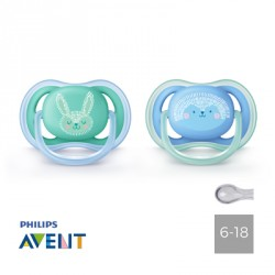 Philips Avent, Pacifiers 6-18 months,Ultra Air Blue/Green, Symmetrical - Silicone