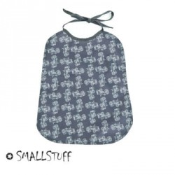SMALLSTUFF, Eating Bib, Large - Dark grey / Tractor