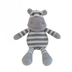 Teddy, Hippo, White/Grey Stripes