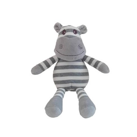 Teddy, Hippo, White/Grey Stripes