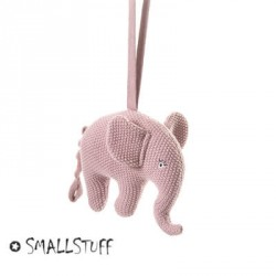 SMALLSTUFF, Music mobile, Elephant knitted, Rosa