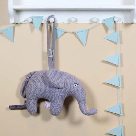 SMALLSTUFF, Music mobile, Elephant knitted, Blue rose