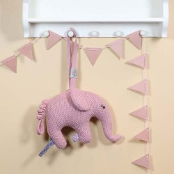 SMALLSTUFF, Music mobile, Elephant knitted, Rosa