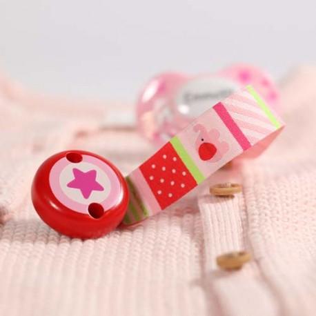 HEIMESS, Dummy clip, Pink Star - ECO-Tex
