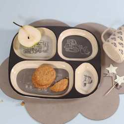 SMALLSTUFF - 4 room plate, Grey / Vehicles, Bamboo