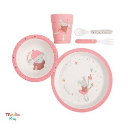 MOULIN ROTY, Baby eating set, pink