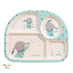 MOULIN ROTY, 4 room bamboo plate, dusty blue