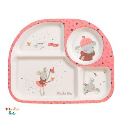 MOULIN ROTY, 4 room bamboo plate, pink