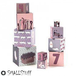 SMALLSTUFF, Stacking blocks, Cat - Pink