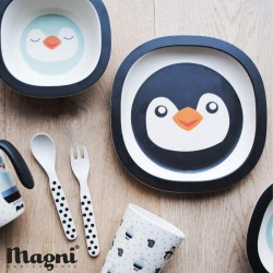 Penguin eating set with 5 pieces, bamboo.